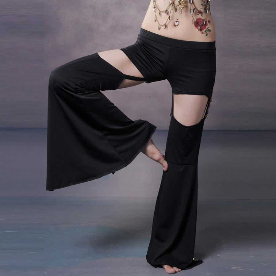 Black tribal belly dance sexy split pants with diamond