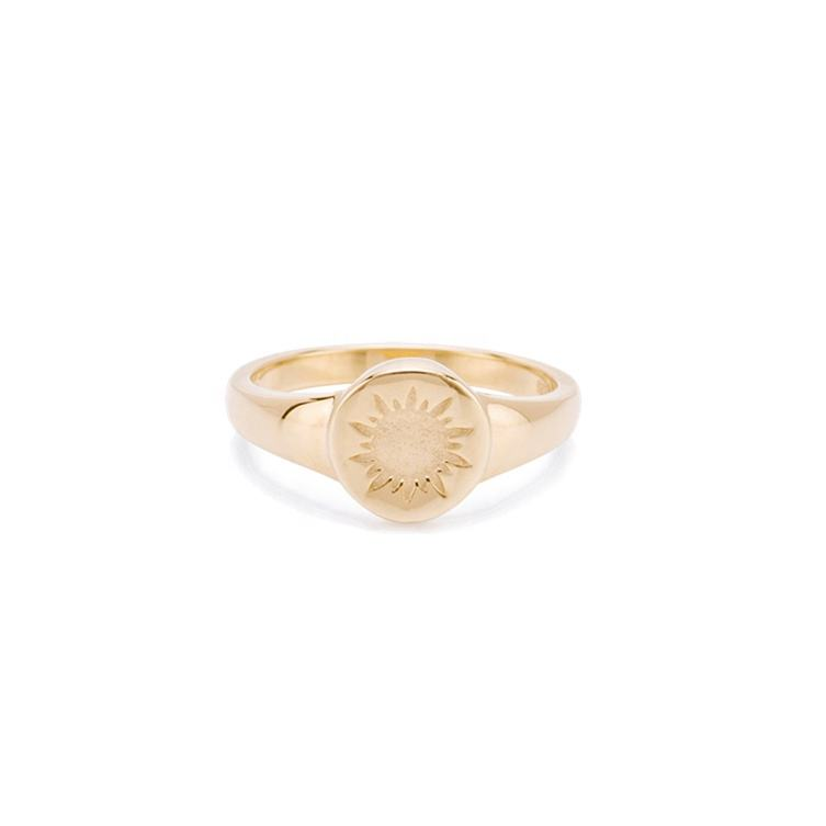 925 silver jewelry 18K plated dainty signet sun circular ring