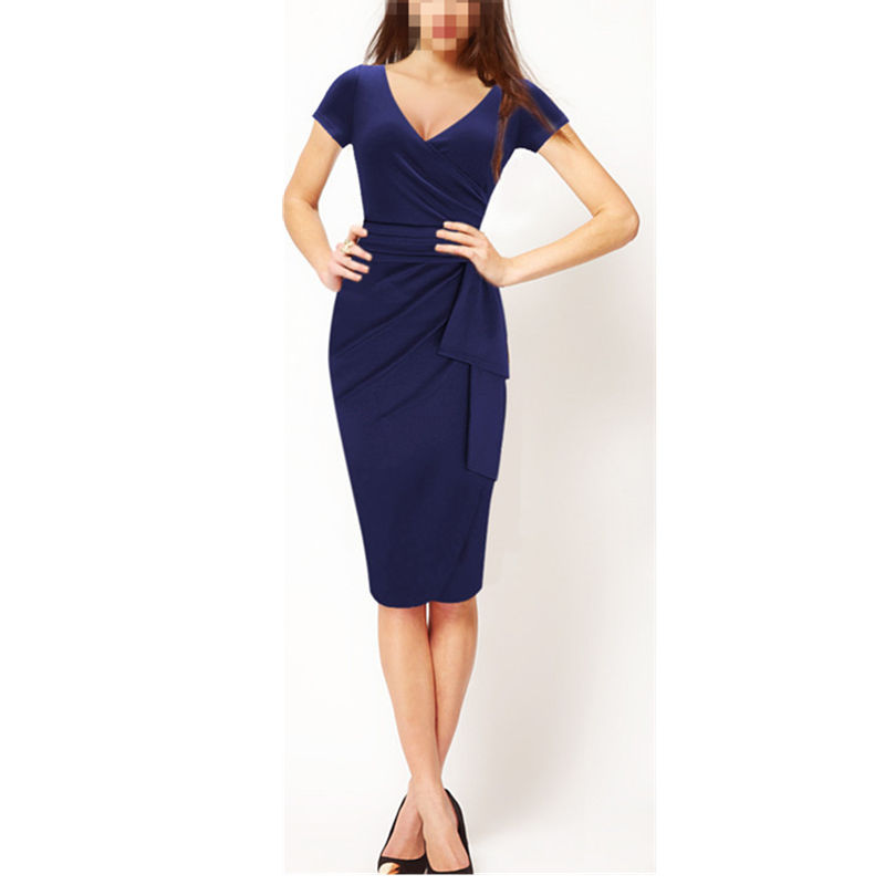 Dark blue ladies latest office uniform design fashion frock suits for women dress