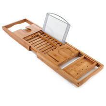 handcrafted bamboo bathtub caddy bath tray with reading rack, wine holder Fuboo