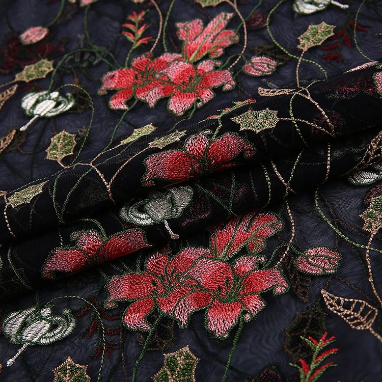 Lace Supplier Embroidery Flower Polyester Floral Beaded soft 3d floral lace fabric embroidery
