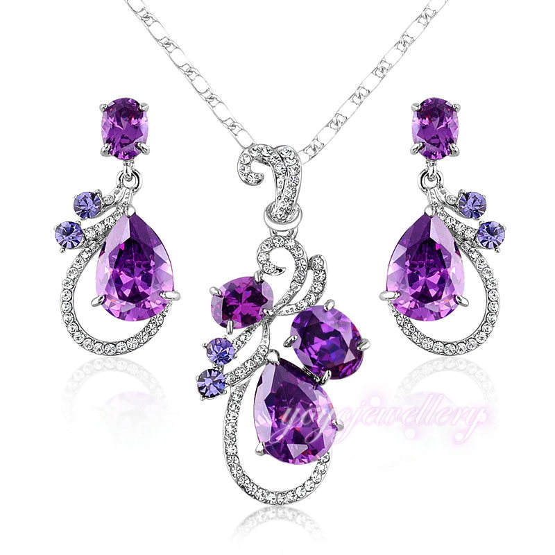 Wedding gold plated dubai amethyst stone jewellery set