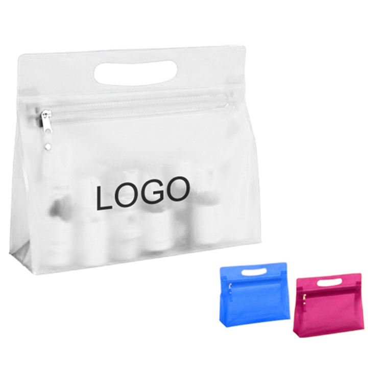 Clear Translucent PVC Plastic Zippered Cosmetic Toiletry Bag Pvc Cosmetic Zipper Bag