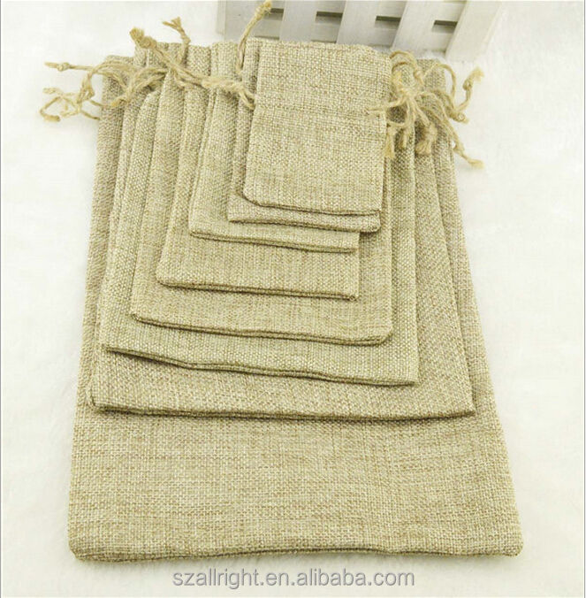 Small Burlap Natural Linen Jute Sack Jewelry Gift Pouch Drawstring pouch Bags
