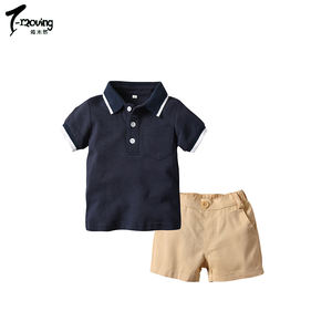 Toddler Kids Litter Boy Set Summer Outfit For Baby Boy polo shirt + Short Pants 2pcs Children Clothes Set