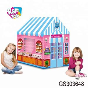 kids pretend play pink pop up playhouse sweets shop candy house toy funny baby tent