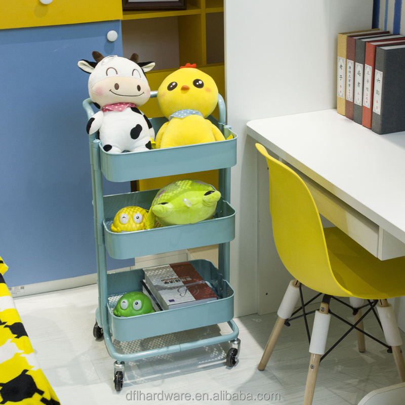 Supply Children Toy Storage Trolley Rack 3 Tiers Metal Rolling Cart for Home