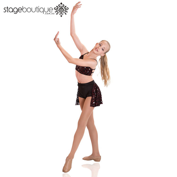 New style Black Red Sequin jazz tap cute acro dance costume