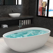 SM-8608 Freestanding White Solid Surface Oval Stone Resin Bathtub