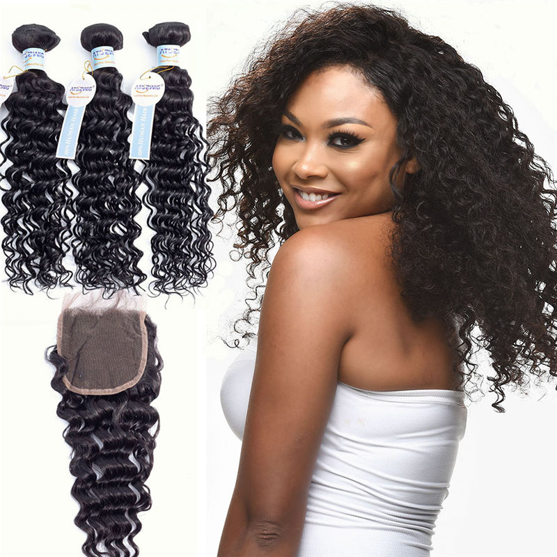 Brazilian Hair 3 Bundles With Closure 100% Remy Hair Middle and Free Part Two Option Deep Wave Human Hair Bundles With Closure