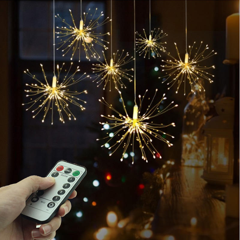100/150/200 LEDs Bouquet Shape Micro Copper String Fireworks Lights Starburst Lamp for Christmas Diwali Holiday lighting