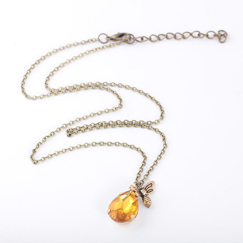 amazon ebay Hot sale Antique Gold Gemstone Bee Vintage Insect Pendant Necklace Women Jewelry Choker