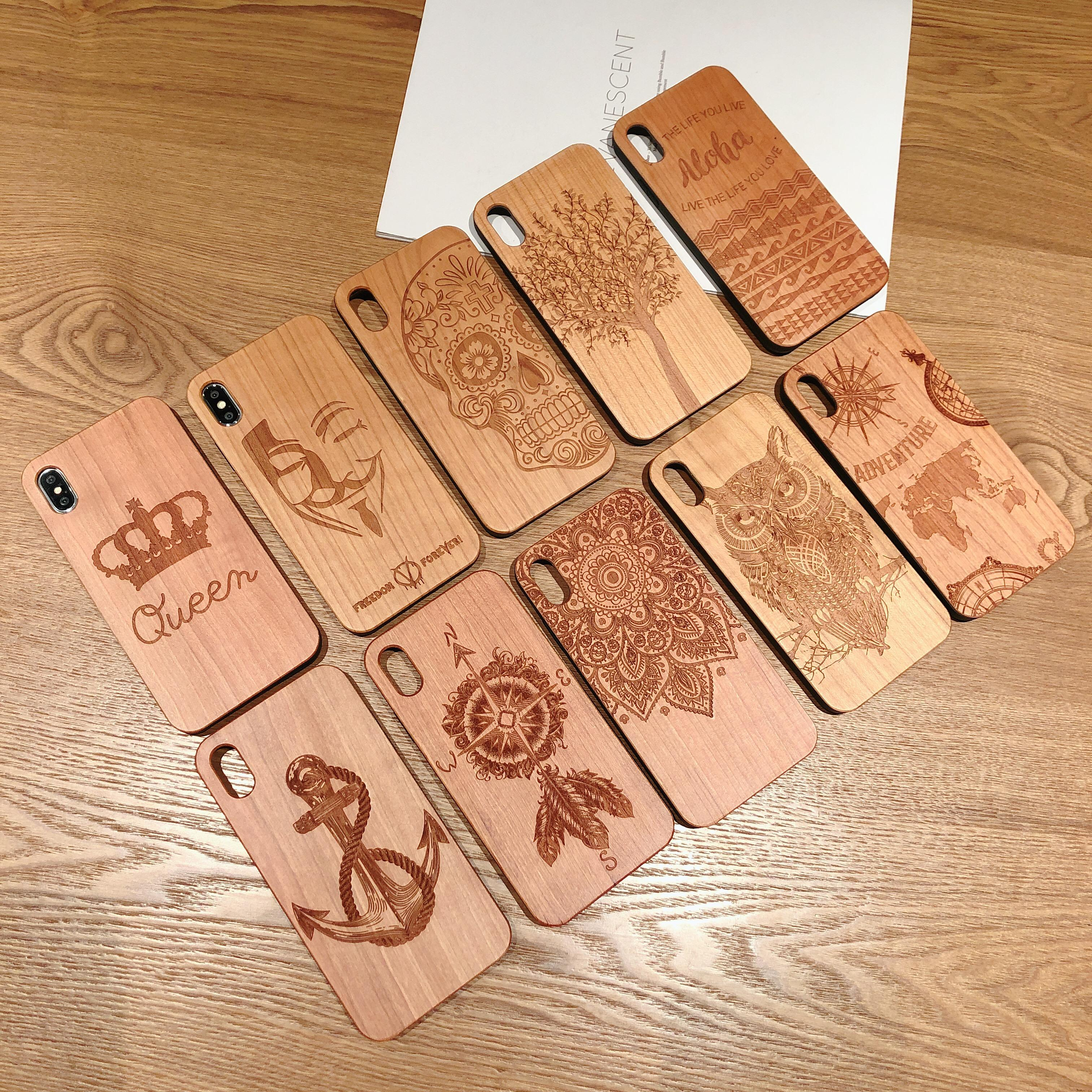 Wood Cell Phone Case for iPhone/Samsung Laser Engraving Wooden Unique Shock Bamboo Phone Cover Shell for Huawei/Sony