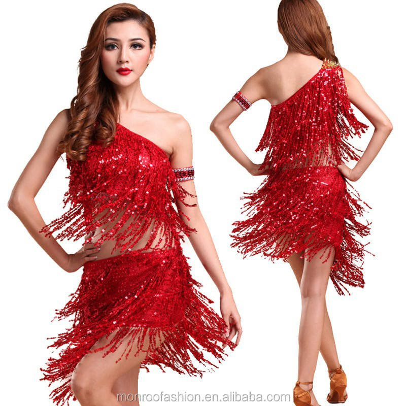 Monroo 2017 Mode Dame Robe De Danse Paillettes Costume de Danse Tango Latine Salsa Top Robes