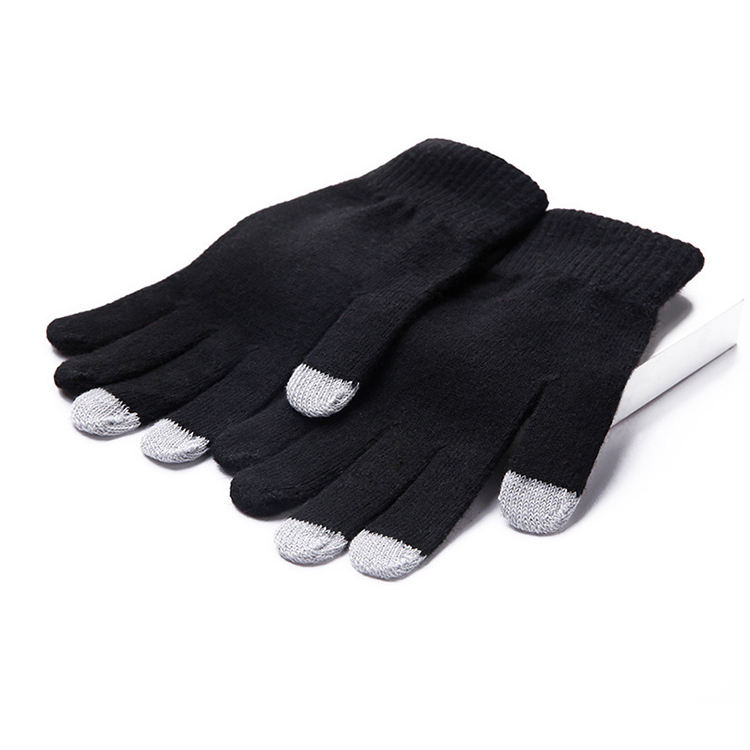 Accept OEM Full Fingers Customized Knitted Touchscreen Winter Gloves