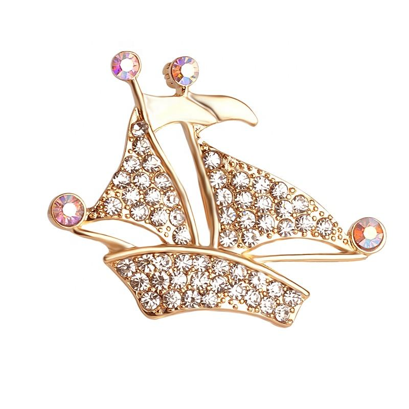Simple Design Sailing Brooch Men And Women Suit Collar Boat Ship Shaped Jewelry Brooch