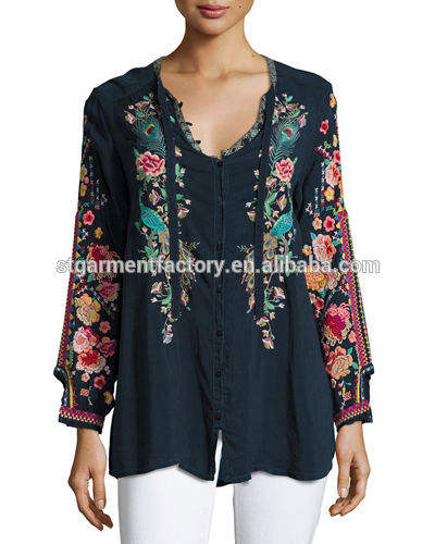 Embroidery tops women for spring flower design wholesale Sta-236