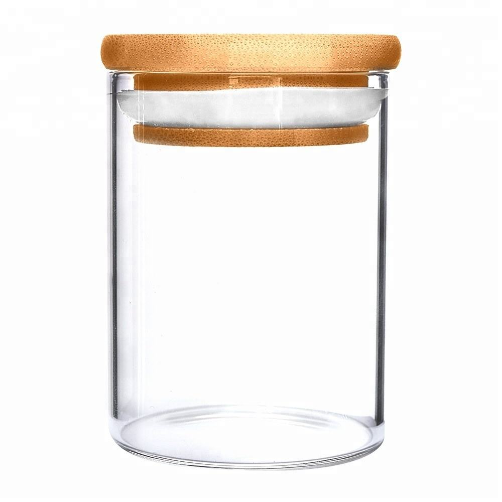 300ml glass jar with bamboo lid for food
