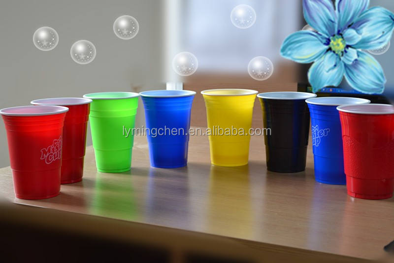 16oz PS double colors plastic party cheers cup coffee cups disposable colored plastic cups