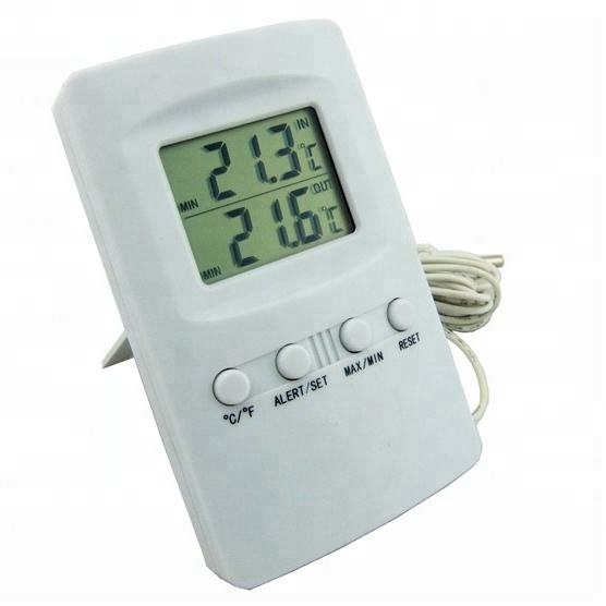 Hot Sell Digital Max Min Room Thermometer with Alarm Function and External Probe in ABS Material