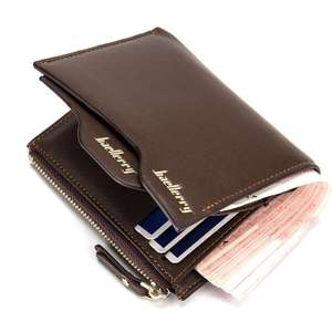 Original Baellerry Men's PU leather short zipper wallet /Luxury Business style Travel Coin purse wallets for man