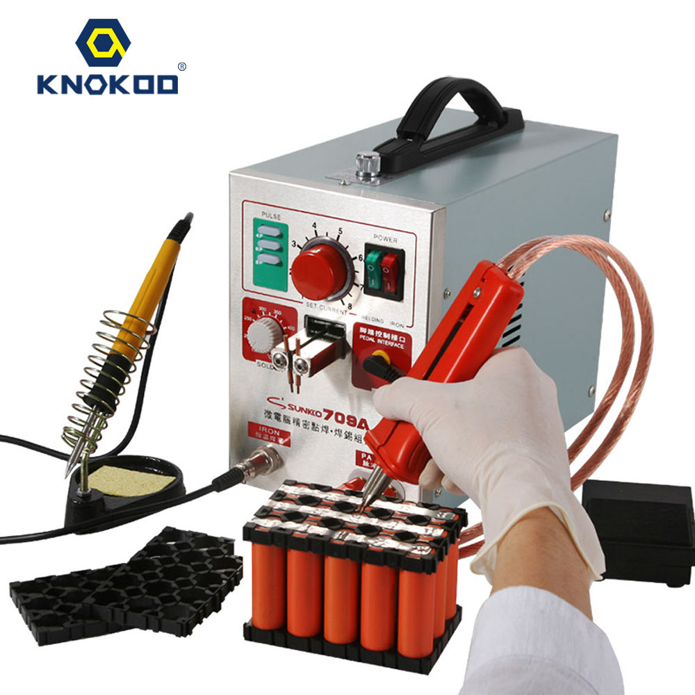 Battery Spot Welder 18650, KNOKOO 1.9kw LED Pulse 709A Battery Spot Welding Machine for 18650 and 16430 14500 battery pack
