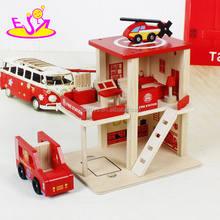2017 New products funny parking toy boys wooden toy fire station W04B030