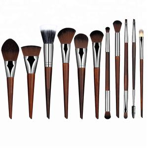 New Makeup Brushes 11PCS Set Red Wood Make Up Brush Soft Synthetic Collection Kit with Powder Contour Eyeshadow Eyebrow Brushes