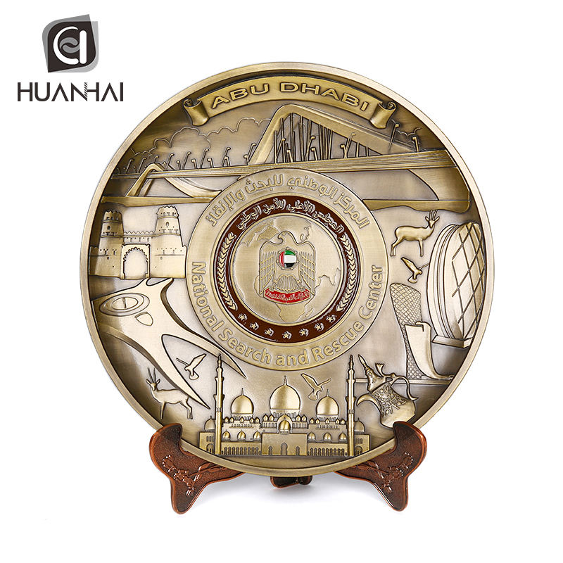plate printing machine production self adhesive antique round custom logo metal souvenir plate