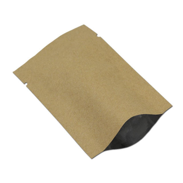 Open Top Kraft Paper Mylar Foil Storage Bags Retail Vacuum Kraft Packing Heat Seal Paper Aluminum bags for coffee
