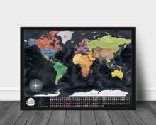 High quantity Scratch off Map poster Luxury Deluxe Travel map with flags accepted customized for unique gift