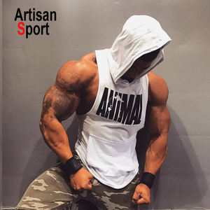 men gym wear 2019 New Men Bodybuilding Cotton Tank top Gyms Fitness Vest Sleeveless Hoodie Casual Fashion Workout Clothing