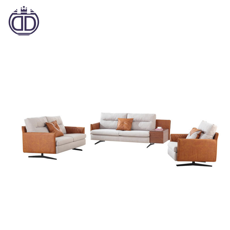 Nordic modern living room furniture fabric and leather combination sofas set designs and prices floor sofa chair