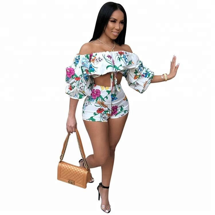 Latest Summer Floral Off The Shoulder Crop Top and Shorts Two Piece Set Women Clothing