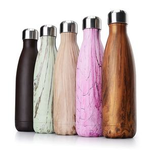 Starry Cola Custom Stainless Steel Bowling Water Bottle Marble Wood Grain Vacuum Flask Tumbler
