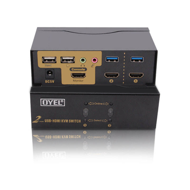 Favctory can OEM 2 in 1 out Auto USB 3.0 H DMI KVM Switch Hot Selling 2 port H DMI KVM Switch support 4K@30Hz HDCP