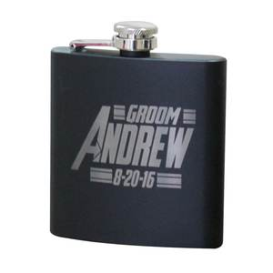 custom logo stainless steel black color 6 OZ liquor hip flask with laser logo