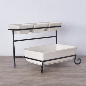 Cafeteria serving two tiers square white mini large ceramic soup porcelain bowls with iron shelf