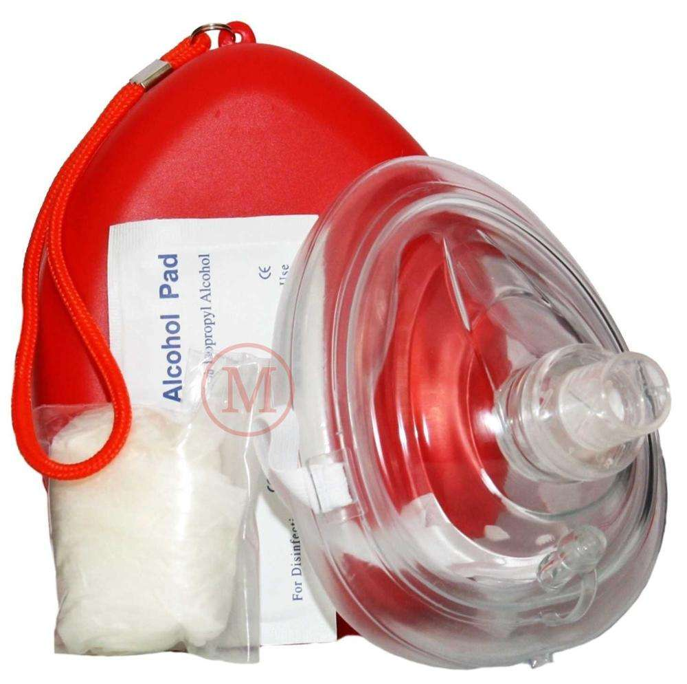CPR01 Rescue CPR Pocket Face Shield Maske in Hartsc halen rot Erste-Hilfe-Box