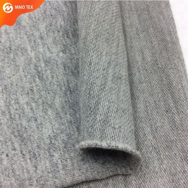 32s 270gsm melange grey yarn dyed combed 100% cotton french terry knitted fabric