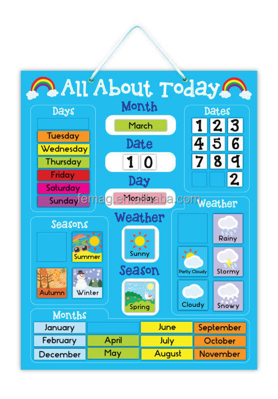 E1004 2014 hot brand new for kids baby and child creative magnetic learning educational calendar and weather chart