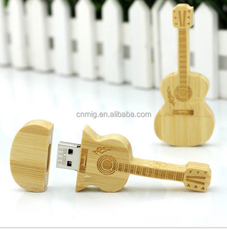 large memory high quality guitar shaped wooden usb flash drive 4gb 8gb 16gb