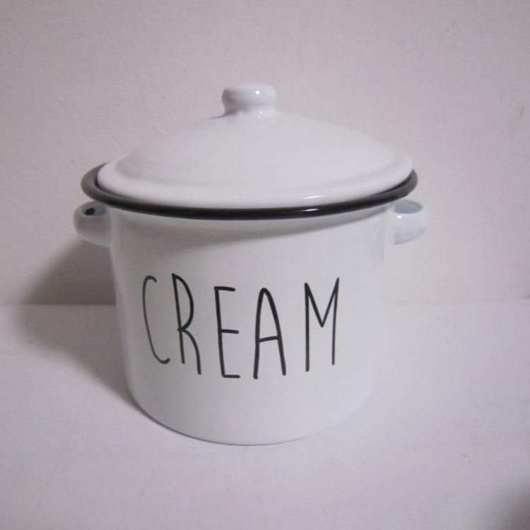 Retro Enamel Soup Pot Storage Pot Buffet Soup Pot With Lid and Handle