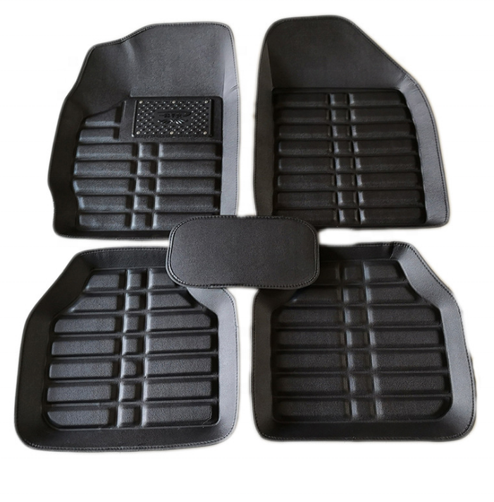 Car Universal Floor Mat 3D Deep Dish Matting 5pcs/set Leatherette Look Black/Beige