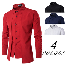 Hot Selling Custom Logo 100%Cotton Stand Collar Long Sleeves Men's Dress Shirts