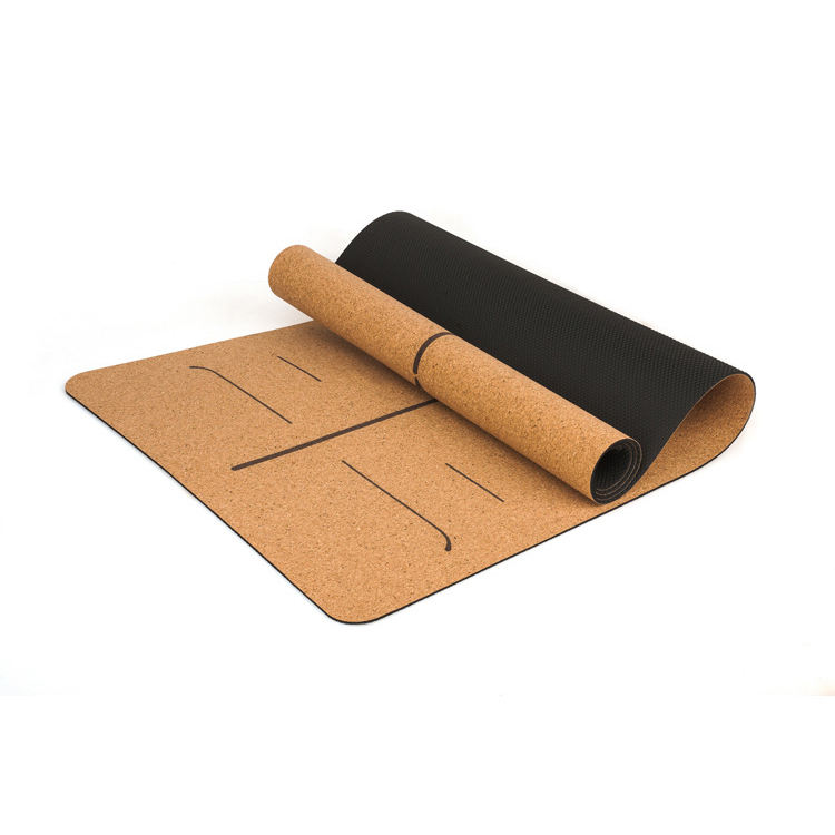 High Quality Professional Natural Cork Yoga Mat With Line Position for Yoga Exercise Natural Rubber and Cork Yoga Mat