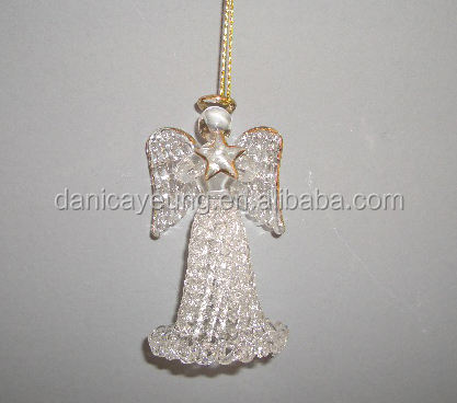 Hand blown led glass angels of christmas ornaments for decorations