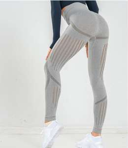 2019 Female High Waist Yoga Pants Knitted Seamless Quick-Drying Breathable Leggings