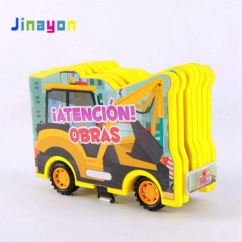 Jinayon Custom Design Car Shape Children Educational Card Board Books Kids story Learning cartoon Book Wholesale