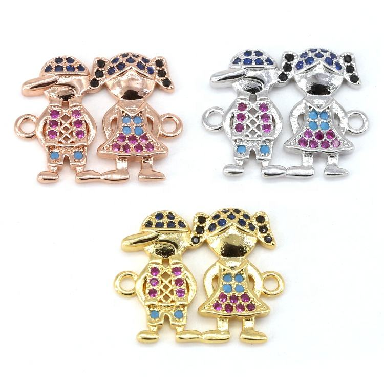 Lovely Kids Pink cz Charms Little Boy Girl Jewelry